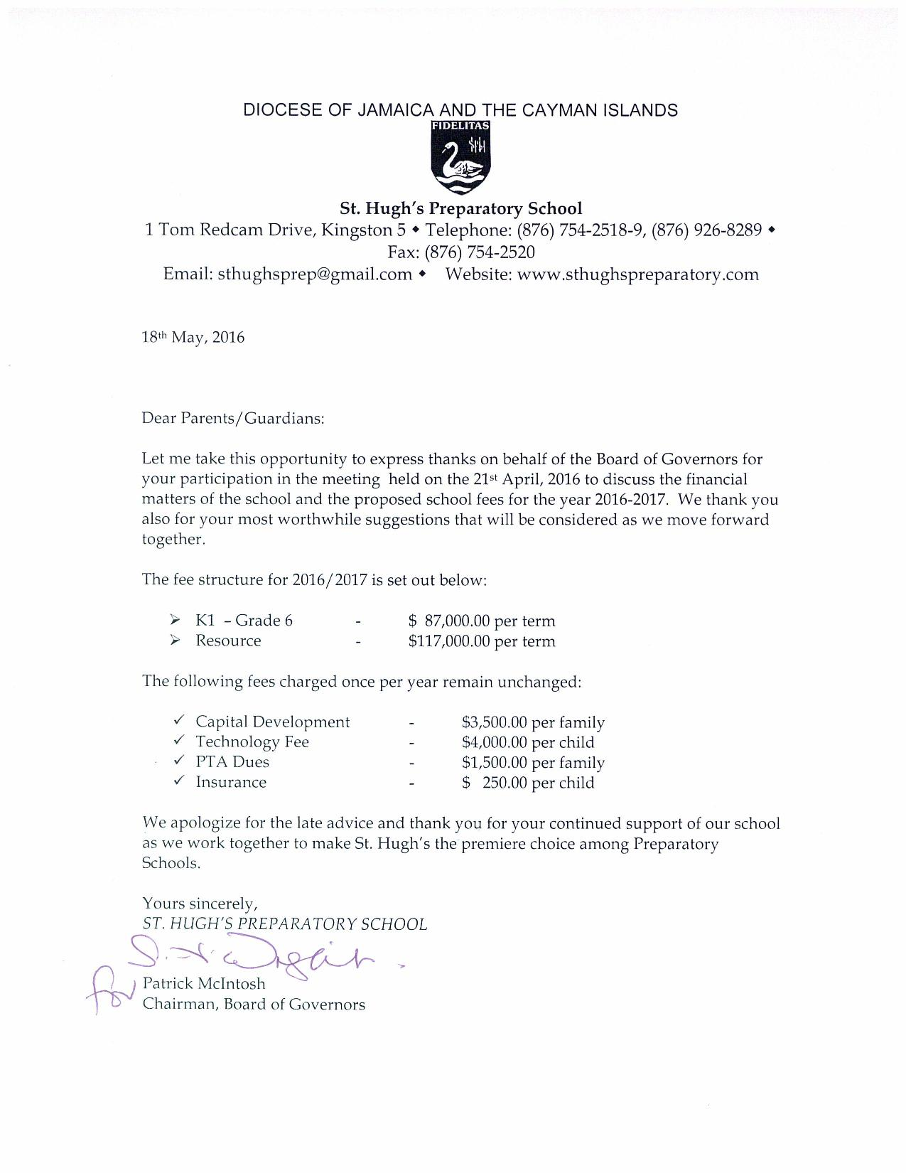 Letter To Parents School Fees 2016 17